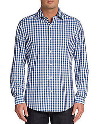 Slim fit gingham sportshirt medium 80970