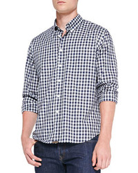 Tuscumbia gingham button down shirt navy medium 80967