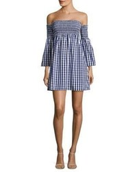 Navy Gingham Off Shoulder Dress
