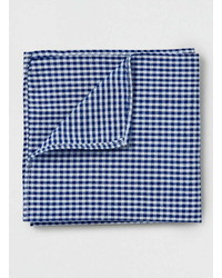 Topman Navy Gingham Pocket Square