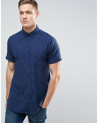 Navy Gingham Short Sleeve Shirt