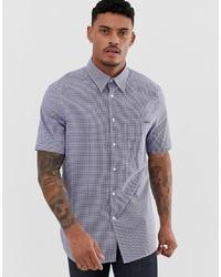 Calvin Klein Logo Mini Gingham Short Sleeve Shirt Regular Fit In Navy