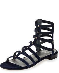 Stuart Weitzman Csar Suede Gladiator Sandal Nice Blue