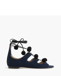 J.Crew Denim Caged Gladiator Sandals With Pom Poms