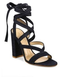 Gianvito Rossi Denim Lace Up Gladiator Sandals