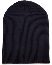 Brunello Cucinelli Cashmere Ribbed Hat Wfoldover Brim Navyoatmeal