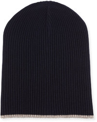 Brunello Cucinelli Cashmere Ribbed Hat With Fold Over Brim Navy