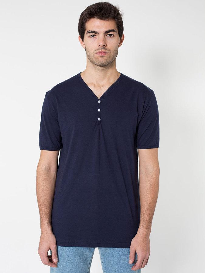 American Apparel Fine Jersey Short Sleeve Henley Where