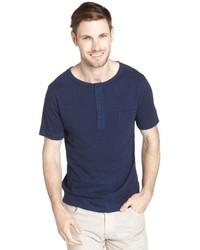 Paper Denim & Cloth Anchor Navy Eden Cotton Henley Short Sleeve Shirt