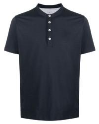 Eleventy Band Collar Cotton T Shirt