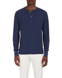 Barneys New York Cotton Thermal Knit Henley