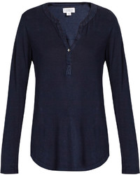 Velvet by Graham & Spencer Elvira Linen Blend Henley Top