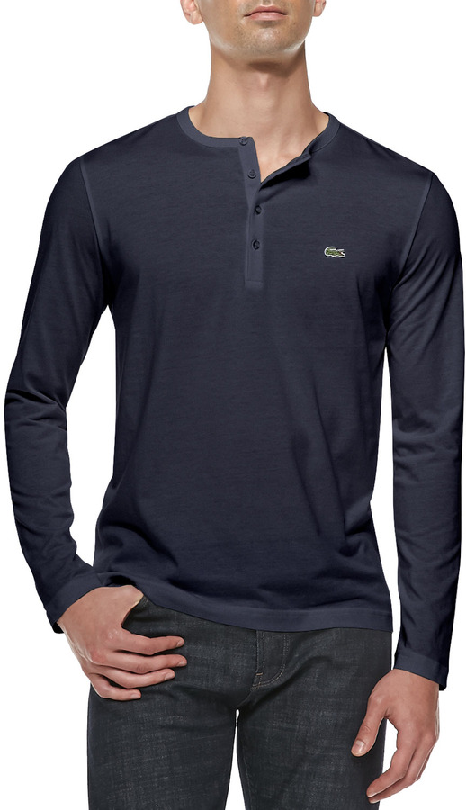 Lacoste long sleeve pima henley navy where to buy how for Kim kardashian henley shirt