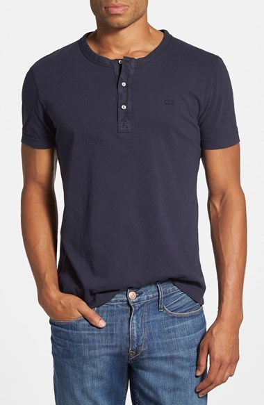 Lacoste vintage washed henley t shirt where to buy how for Kim kardashian henley shirt