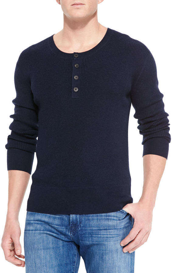 Neiman marcus ribbed long sleeve henley navy where to for Kim kardashian henley shirt