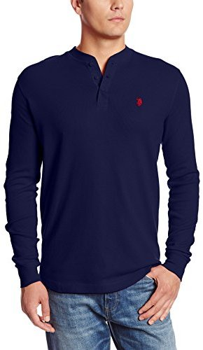 U s polo assn long sleeve cotton thermal henley where for Kim kardashian henley shirt