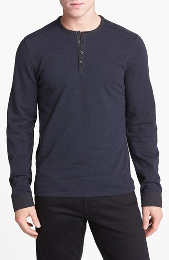 Vince camuto knit henley navy medium where to buy how for Kim kardashian henley shirt