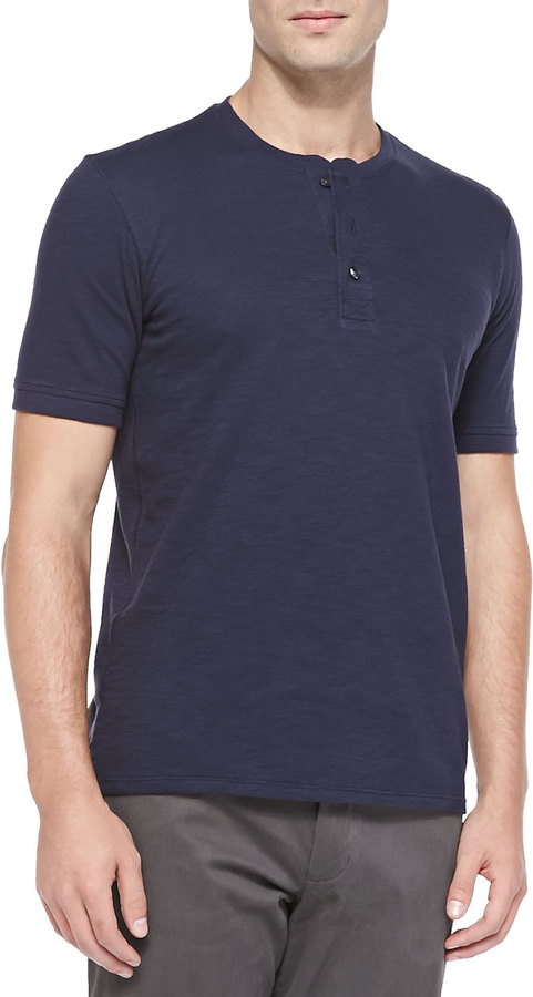 Vince short sleeve slub henley navy where to buy how for Kim kardashian henley shirt