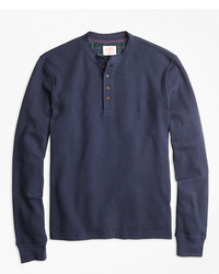 Brooks Brothers Waffle Knit Cotton Henley