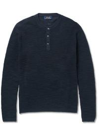 Polo Ralph Lauren Waffle Knit Cotton And Linen Blend Henley Sweater