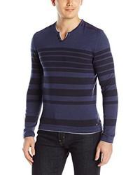 Buffalo David Bitton Wallyred Long Sleeve Striped Henley Sweater