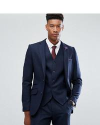 Gianni Feraud Tall Slim Fit Navy Herringbone Suit Jacket