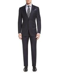 Ermenegildo Zegna Herringbone Peak Lapel Two Piece Suit Navy
