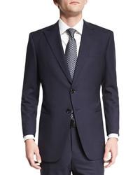 Giorgio Armani Taylor Textured Herringbone Wool Suit Navy