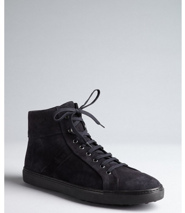 Tod's Navy Brushed Leather High Top