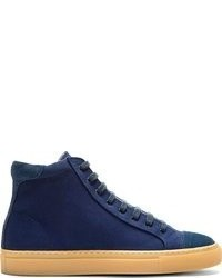 Carven Navy Canvas Suede High Top Sneakers
