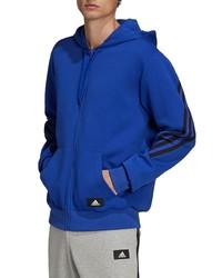 adidas 3 Stripes Front Zip Fleece Hoodie