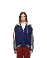 Gucci Blue Jersey Logo Hoodie