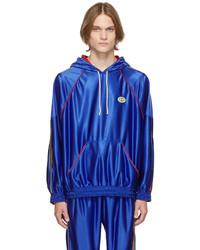 Gucci Blue Shiny Jersey Web Hoodie