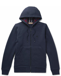 Burberry Cotton Blend Jersey Zip Up Hoodie