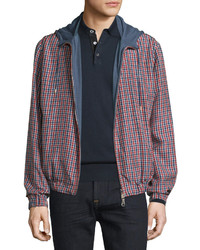 Brioni Hooded Zip Front Reversible Jacket Blue Solid