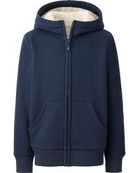 Uniqlo Kids Pile Lined Sweat Long Sleeve Full Zip Hooded Jacket