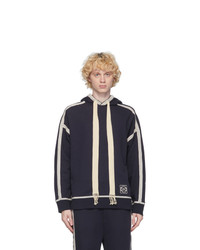 Loewe Navy And Off White Anagram Embroidered Hoodie