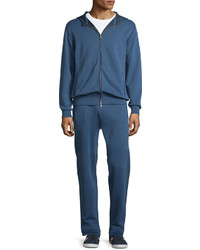 Brioni Zip Front Hooded Sweatshirt Blue