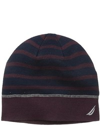 Nautica Striped Beanie With Contrast Stitching