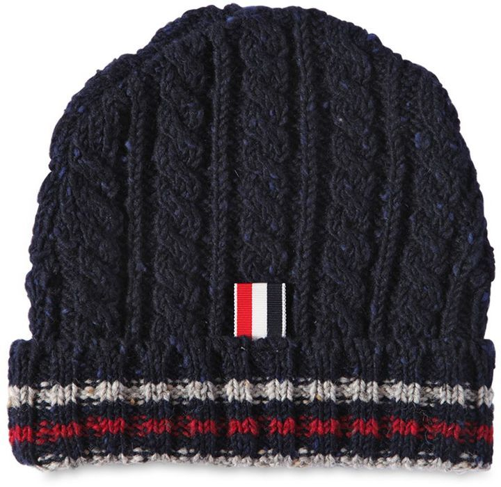 Navy wool striped beanie Thom Browne 6A7P6N