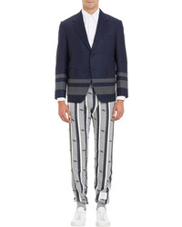 Navy Horizontal Striped Blazer