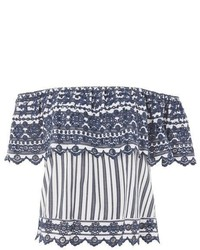 Topshop Broderie Striped Bardot Top