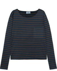 Prada Striped Slub Cotton Jersey Top Navy