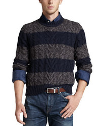 Navy Horizontal Striped Cable Sweater