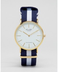 Reclaimed Vintage Inspired Navy Stripe Canvas Watch With White Dial To Asos