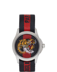 Gucci Navy And Red G Timeless Laveugle Par Amour Tiger Watch