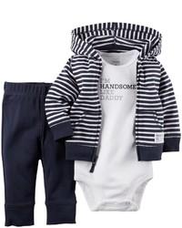 Carter's 3 Piece Cardigan Set Navy Stripe Newborn