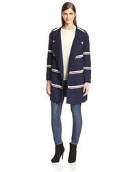 Navy Horizontal Striped Coat