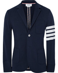 Thom Browne Slim Fit Striped Loopback Cotton Jersey Blazer