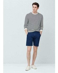 Mango Outlet Striped Chambray Bermuda Shorts